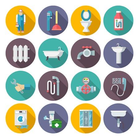 cabine de douche: Plombier outils de service kit pictogrammes plats définis avec système de chauffage dommages sections ronde abstraite isolé illustration vectorielle Illustration