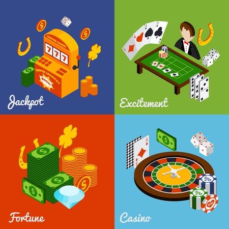 rueda de la fortuna: Casino concepto de diseño isométrica conjunto con iconos fortuna emoción bote aislado ilustración vectorial Vectores