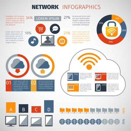 configuration: Network infographics set with chart and computer database configuration elements vector illustration