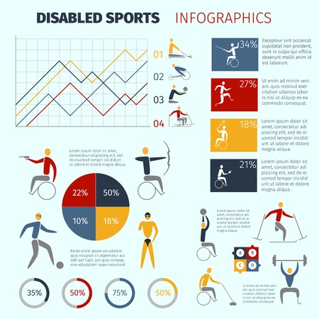 Disabled sports infographics with handicapped athletes symbols and charts vector illustration Vector
