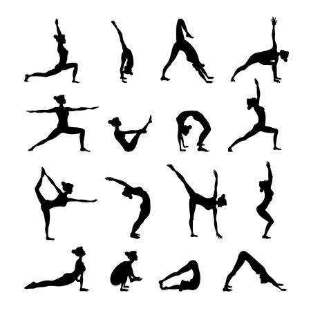 yoga icon: Healthy women in balance harmony poses in yoga icons set black isolated vector illustration