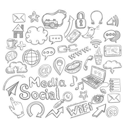 business plan: Doodle social media decorative icons set with creative elements isolated vector illustration