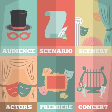 actors: Theatre poster mini set with audience scenario scenery actors premiere concert isolated vector illustration