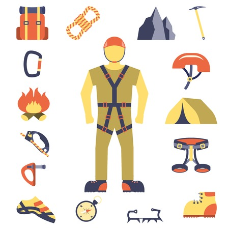 harness: Mountain peaks climber tools and equipment flat icons composition poster with crampon shoes compass abstract vector illustration