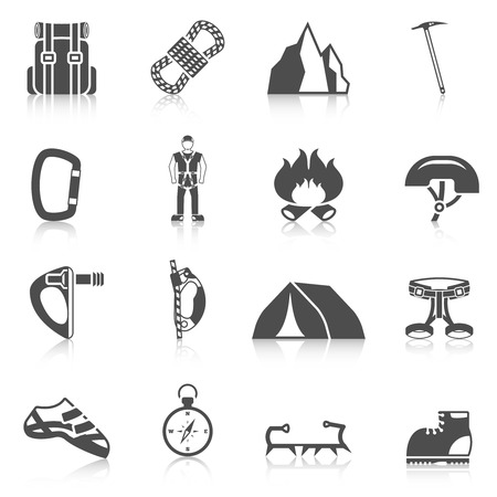 Alpinist cartoon character icon with climber harness tools compass and gear black pictograms composition abstract vector illustration