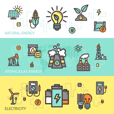 natural gas: Energy horizontal banner set with natural atomic gas electricity elements isolated vector illustration