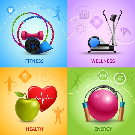 salud y deporte: Gimnasio concepto de diseño conjunto con iconos de salud y bienestar de energía ilustración vectorial aislado