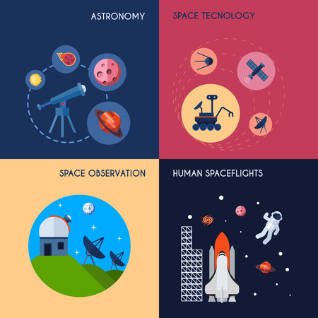 observation: Space design concept set with astronomy technology and observation human spaceflights flat icons isolated vector illustration