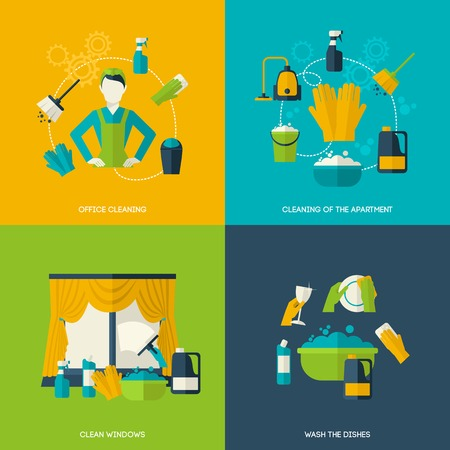 the maid: Cleaning design concept with office apartment windows dishes flat icons set isolated vector illustration Illustration