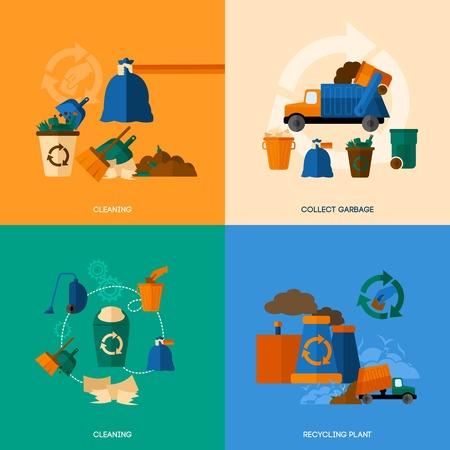 recycle bin: Basura concepto de diseño conjunto con la limpieza y recoger los iconos planos de plantas de reciclaje aislado ilustración vectorial Vectores