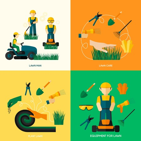Lawn ontwerpconcept set met werknemer man plant apparatuur en zorg vlakke pictogrammen geïsoleerd vector illustratie Stockfoto - 37809664