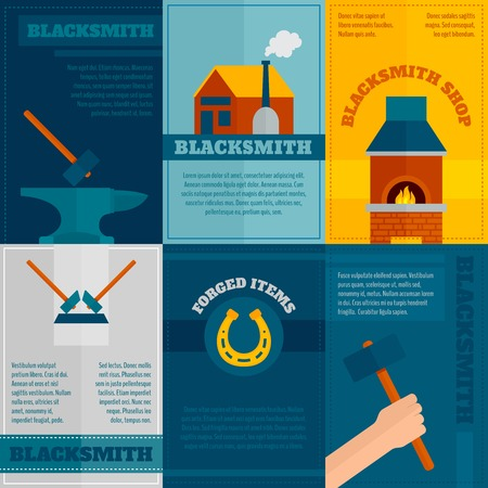 ironwork: Blacksmith ironwork shop 6 flat icons composition with anvil hammer and forge poster abstract isolated vector illustration