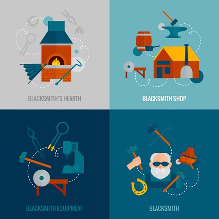 air hammer: Blacksmith design concept set with hearth shop equipment flat icons isolated vector illustration