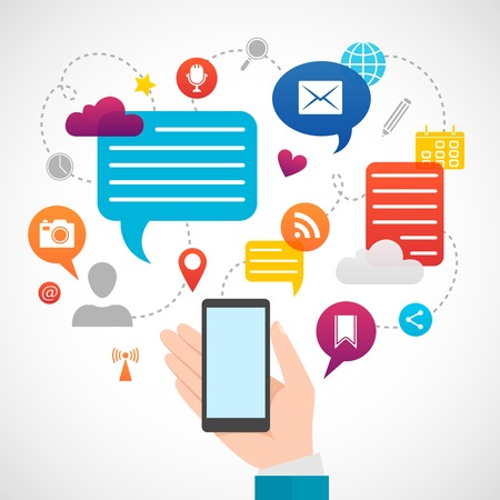 network and media: Hand cell phone users mobile social network media internet service concept icons composition poster abstract vector illustration