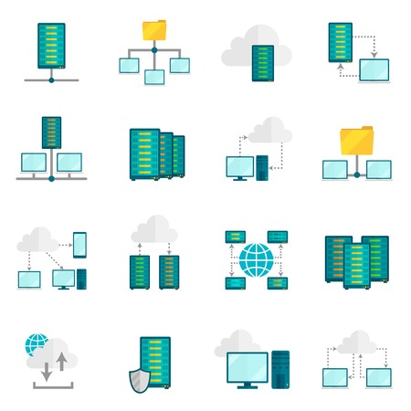 data center: File hosting internet service secure access for computer tablet phone flat icons set abstract isolated vector illustration