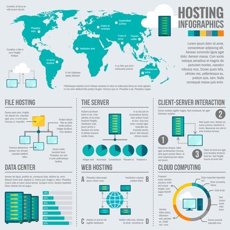 computer centre: Archivo web de interacci�n cliente-servidor cloud computing alojamiento de datos estad�sticas mundiales informe infograf�a presentaci�n abstracta ilustraci�n vectorial Vectores