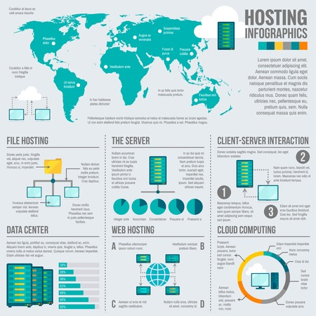 data center: File web hosting cloud computing client server interaction worldwide statistics infographics report presentation data abstract vector illustration
