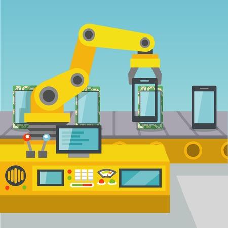 mecanica industrial: Los tel�fonos m�viles de fabricaci�n operador del brazo rob�tico en la f�brica ilustraci�n vectorial plana Vectores