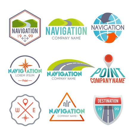 highway signs: Navigation and gps auto map system label set isolated vector illustration Illustration