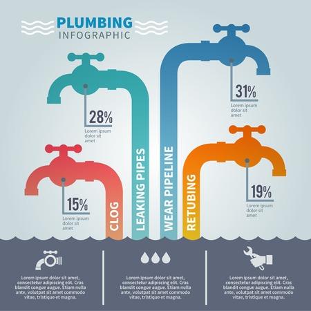 Loodgieter infographic set met kranen en buis armatuur symbolen vector illustratie