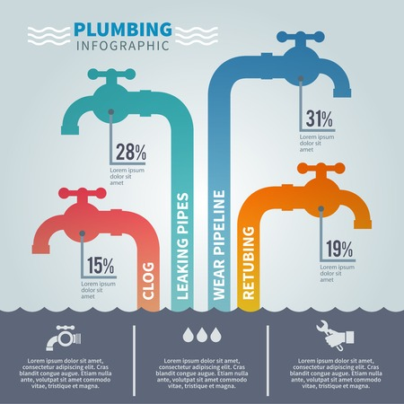 Plumbing infographic set with faucets and tube fixture symbols vector illustration Illustration