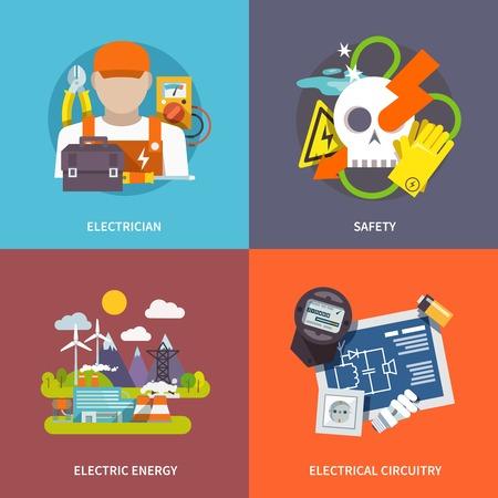 electricidad industrial: Electricidad concepto de dise�o conjunto con la energ�a y la seguridad electricista circuitos iconos planos aislados ilustraci�n vectorial
