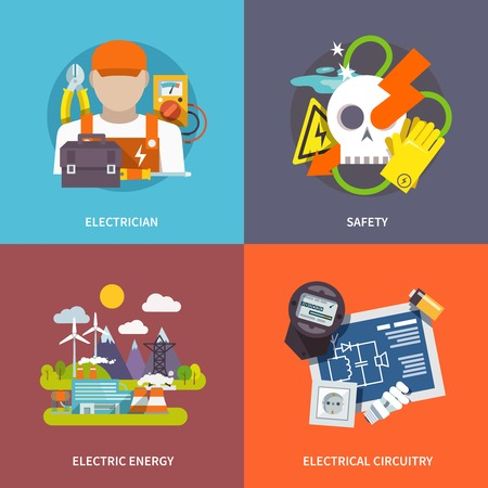 electrical safety: Electricity design concept set with electrician safety energy and circuitry flat icons isolated vector illustration