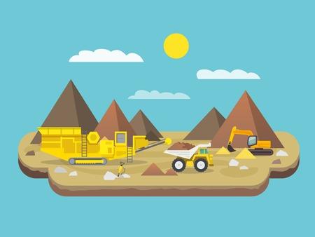 Cartel plana Quarry con excavadoras y maquinaria industrial en la montaña de fondo ilustración vectorial