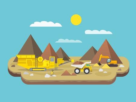 Quarry flat poster with excavator and industrial machinery on mountain background vector illustration Vectores