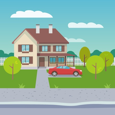 suburb: Family house village or town suburb property building with car flat vector illustration Illustration