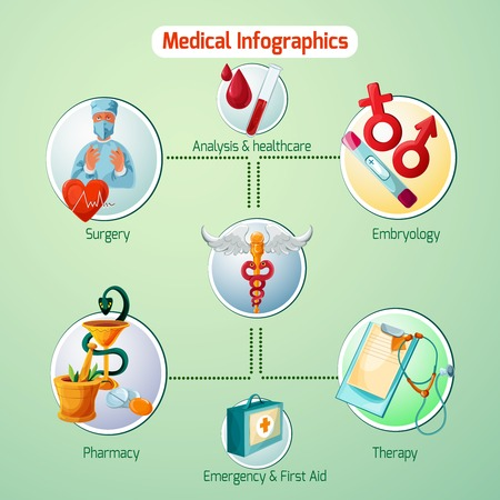 therapy: Medical infographics set with therapy pharmacy and surgery symbols vector illustration Illustration