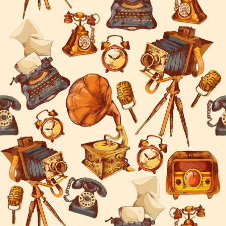gramophone: Retro devices sketch seamless pattern with alarm clock photo camera microphone vector illustration