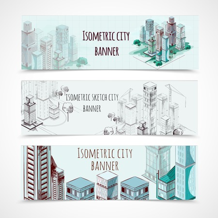 colored background: Isometric building horizontal hand drawn banners set isolated vector illustration Illustration