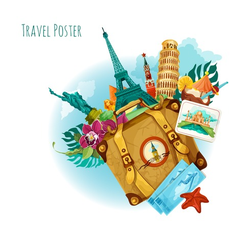 World landmarks travel background with travel tickets suitcase and flower vector illustration