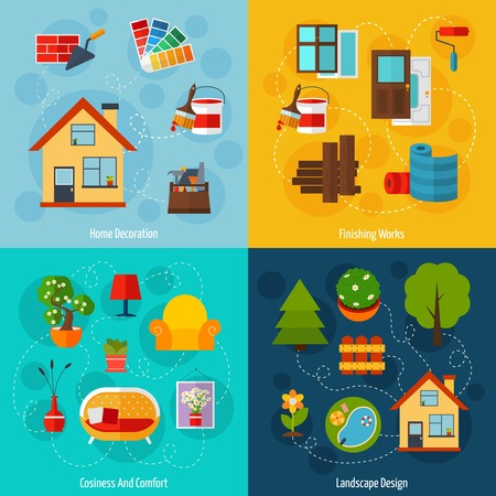 work home: Interior design concept set with home decoration finishing works cosiness comfort and landscape flat icons isolated vector illustration
