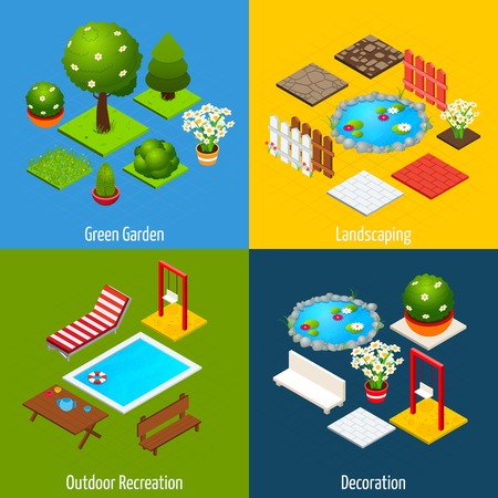 residential tree service: Landscape design concept set with green garden outdoor recreation and decoration isometric icons isolated vector illustration