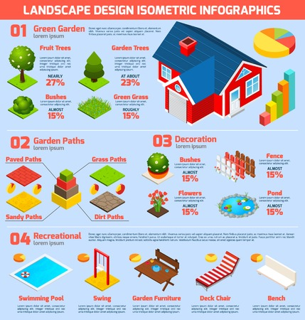 decoration elements: House garden and landscape design isometric infographic set with 3d construction and decoration elements vector illustration