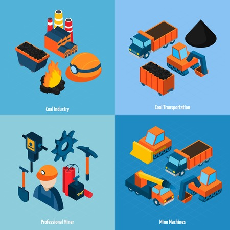 Coal industry design concept set with transportation mine machines and professional miner isometric icons isolated vector illustration Vector