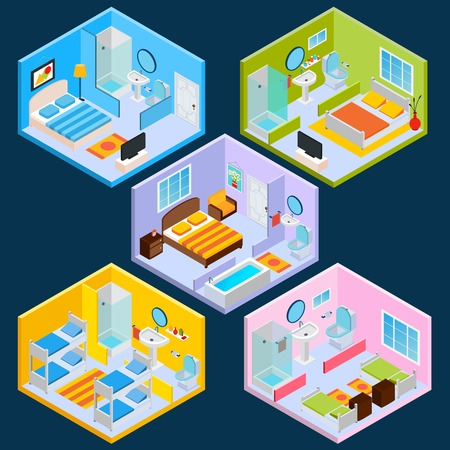 Isometric hotel interior set with 3d furniture and decoration icons isolated vector illustration Illustration
