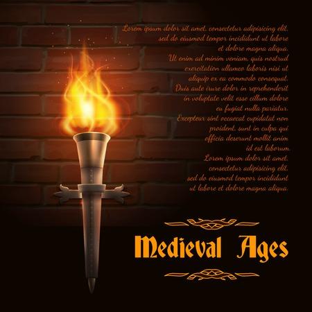 medievales: Antorcha de fuego realista sobre fondo de pared de ladrillo con edades medievales texto ilustraci�n vectorial