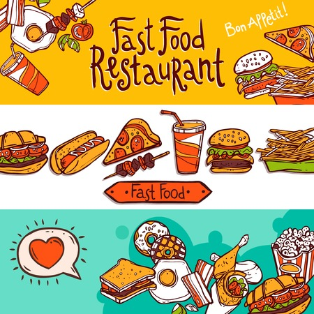 negocios comida: Restaurante de comida rápida de la mano coloreada dibuja banners horizontales establecer ilustración vectorial aislado