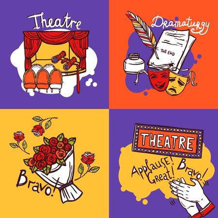 teatro: Teatro concepto de diseño establece con el actor dramaturgia y jugar iconos de dibujo aislado ilustración vectorial