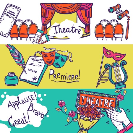 at the theater: Theatre stage performance horizontal banner set with hand drawn elements vector illustration