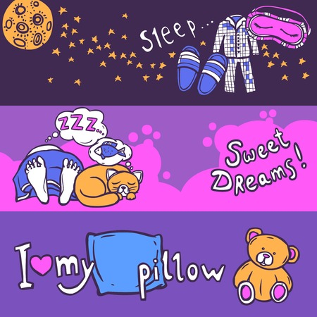 snore: Sleep time horizontal banner set with hand drawn elements isolated vector illustration