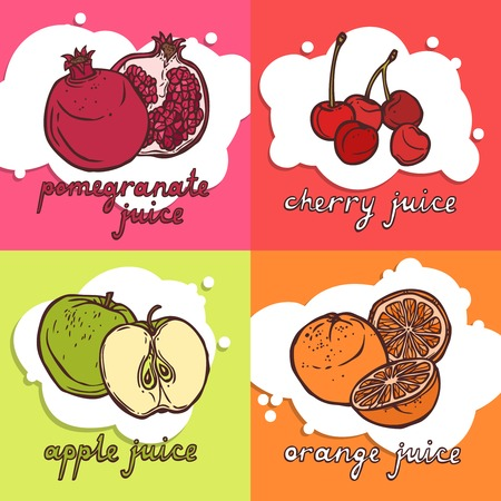 pomegranate juice: Fruit juice design concept set with pomegranate cherry apple orange sketch icons isolated vector illustration Illustration