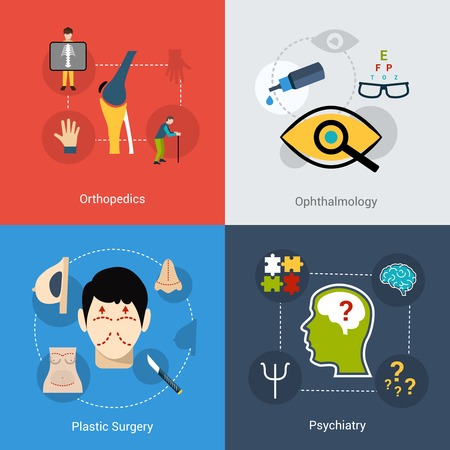 surgery concept: Medical design concept set with orthopedics ophthalmology plastic surgery psychiatry flat icons set isolated vector illustration