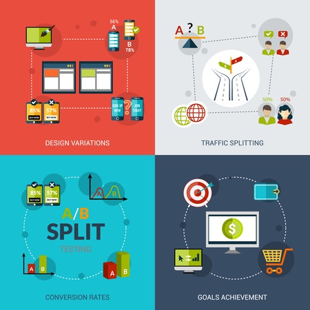 splitting: A-b testing design concept set with design variations traffic splitting conversion rates goals achievement flat icons isolated vector illustration