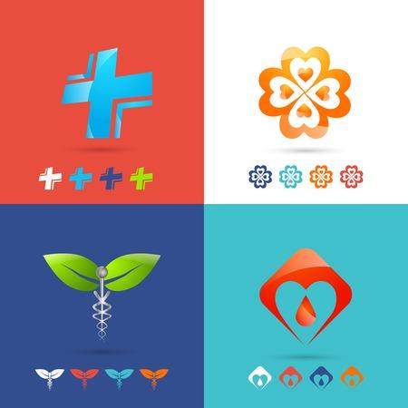 urgencias medicas: Icono M�dico conceptos de dise�o establecen con la farmacia de atenci�n m�dica y de emergencia s�mbolos iconos planos aislados ilustraci�n vectorial