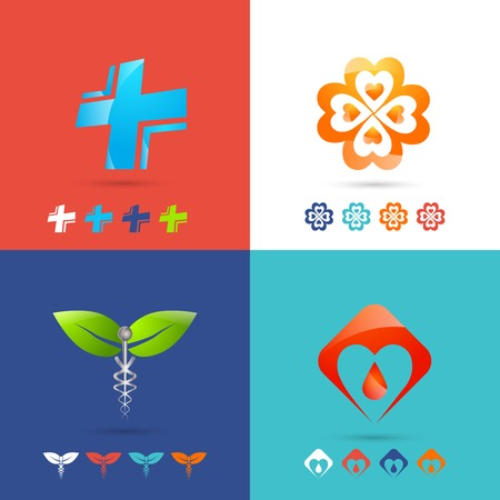 medical emergency service: Medical icon design concepts set with healthcare pharmacy and emergency symbols flat icons isolated vector illustration Illustration