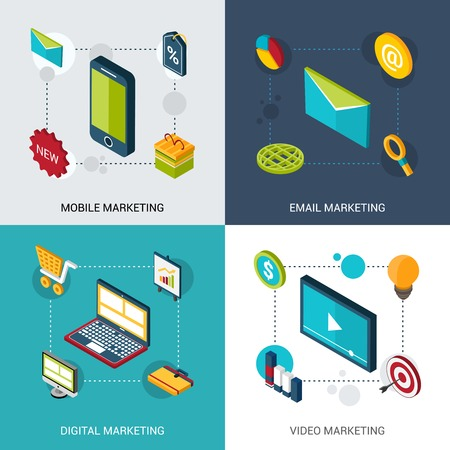 mobile marketing: Mobile email digital and video marketing design concept set with isometric icons isolated vector illustration